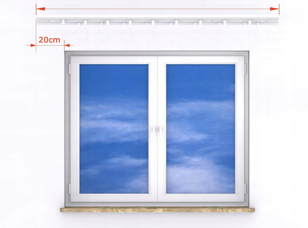 Curtain rod CEILING PVC I-track KPL to size