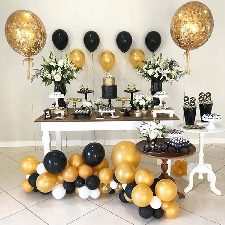 Black and Gold Balloons Big professional mix of 50 pcs
