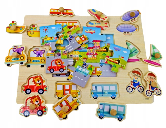 WOODEN PUZZLE WITH A HANDLE LIFE IN THE CITY HIT